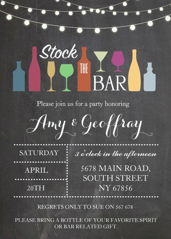 stock the bar chalk party wedding invitation template