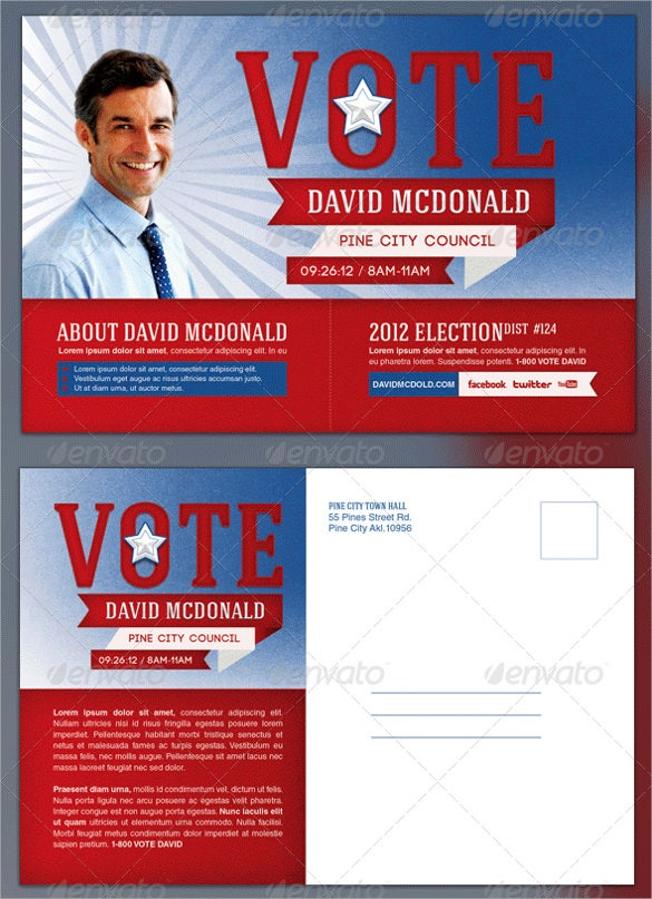 political election postcard template for voting