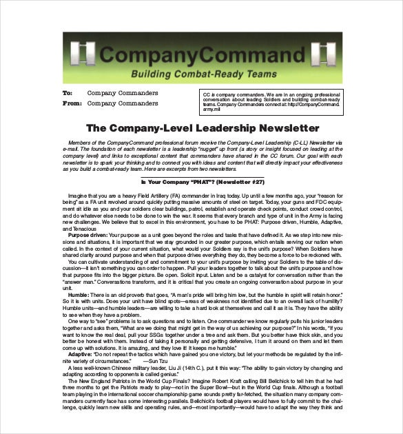 sample company newsletter design template