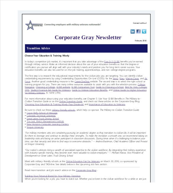 corporate gray newsletter