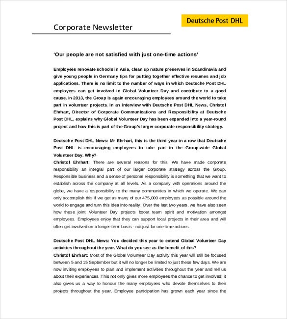 company newsletter to employee