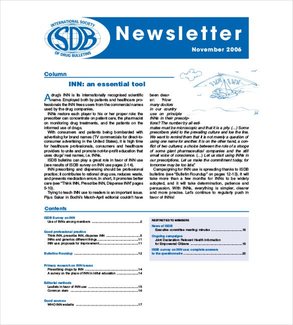 Company Newsletter International Non Proprietary Newsletter