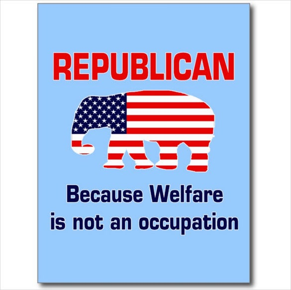 funny republican political welfare postcard