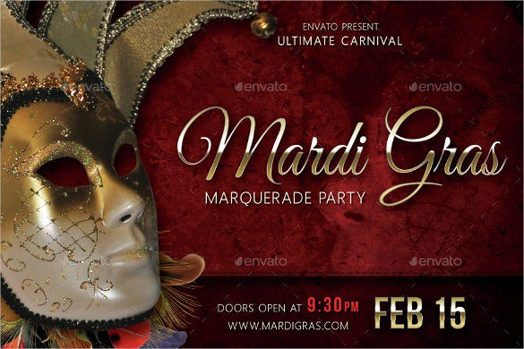 mardi gras carnival party event postcard