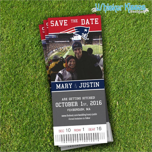 sports ticket save the date event postcard