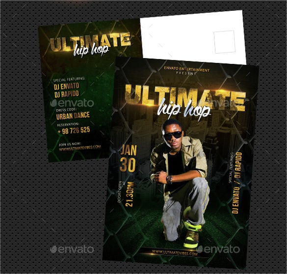 hip hop ultimate party event postcard