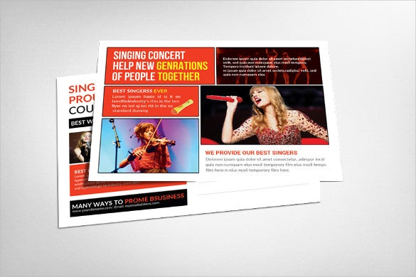 creative singing concert postcard template