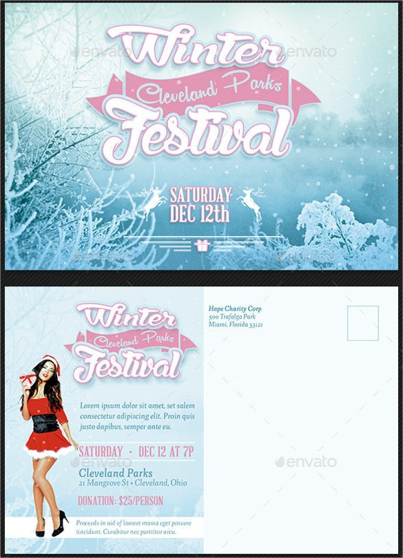 winter festival event postcard template