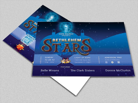 blue colour christmas concert postcard template
