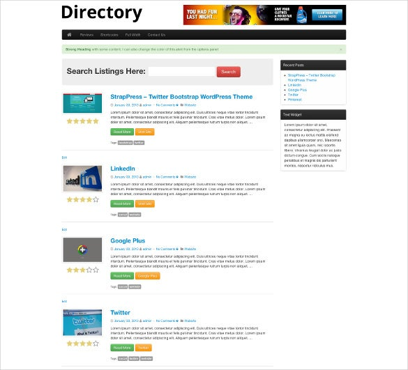 directory bootstrap website template