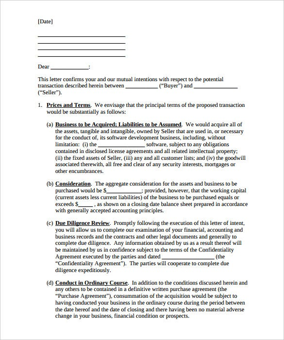 sample letter of intent to purchase a business template free download