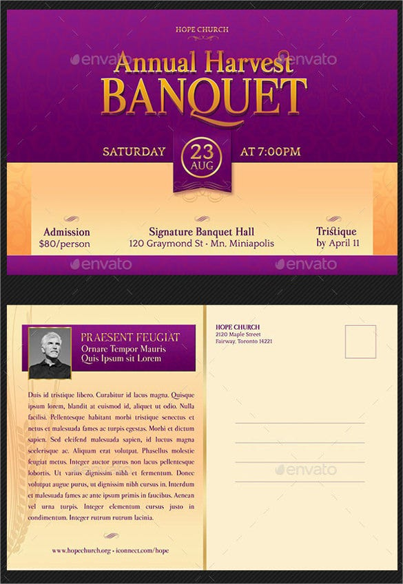 harvest banquet invitation postcard template
