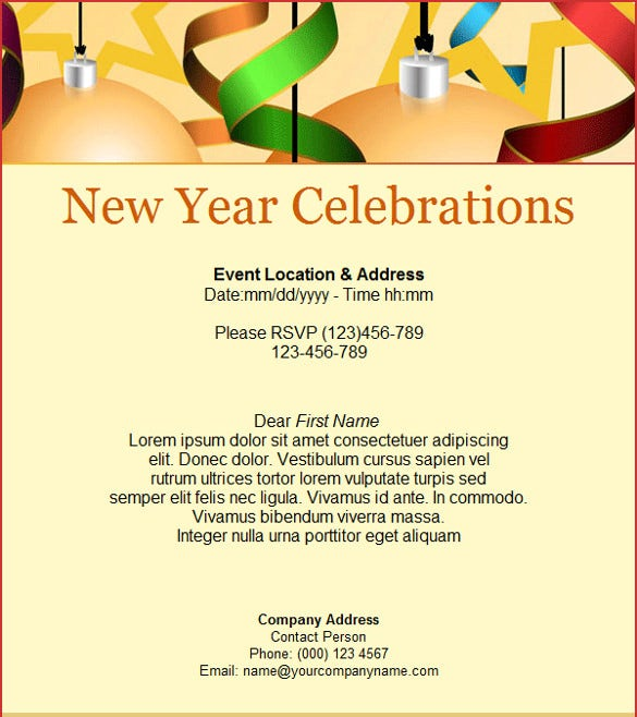red new year celebration invitation email template