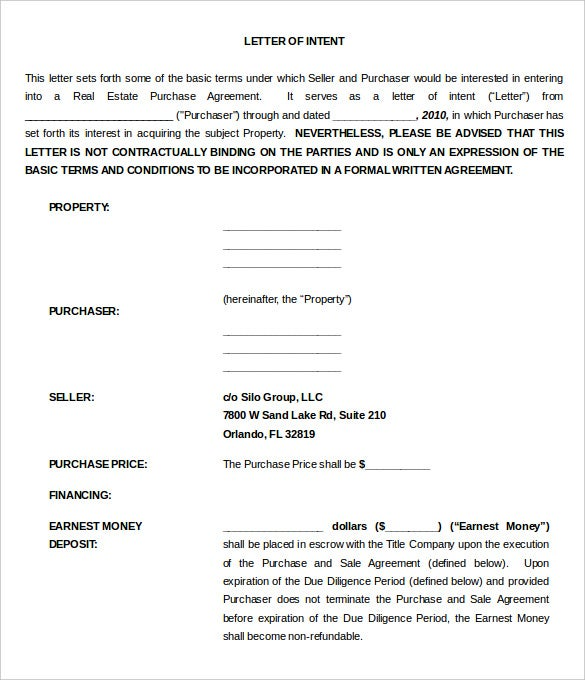 Purchase Letter Of Intent For Commercial Property Word Doc1