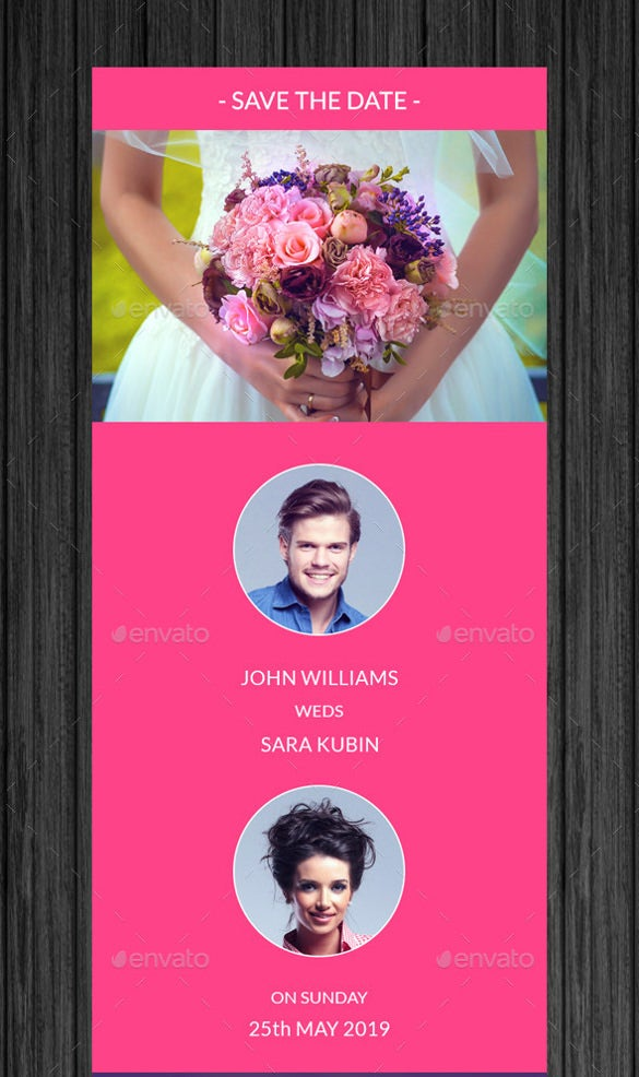 pink wedding invitation email template