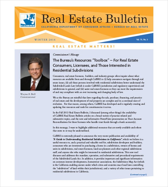 9 real estate newsletter templates free sample example for Realtor newsletter templates