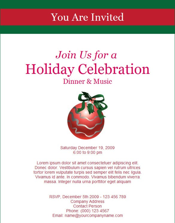 dinner holiday celebration invitation template