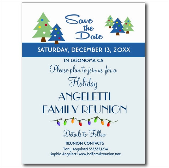 holiday family reunion event save the date postcard