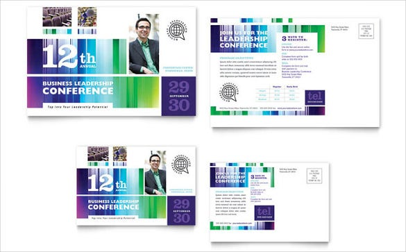 business leadership conference event postcard template
