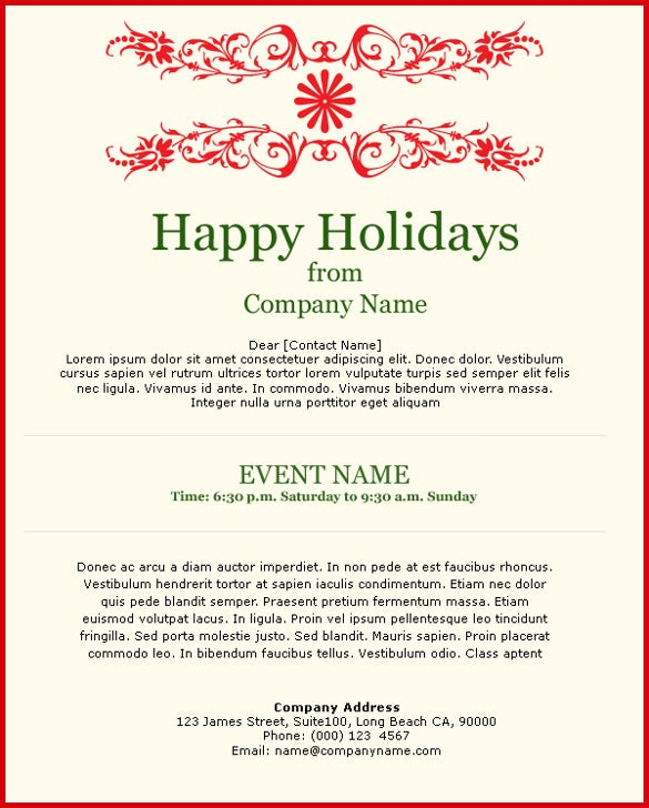simple holiday celebration invitation template