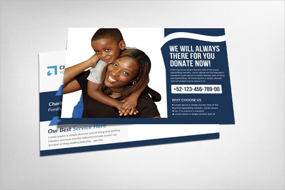 charity donation event postcard template