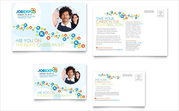 job expo career fair event postcard template