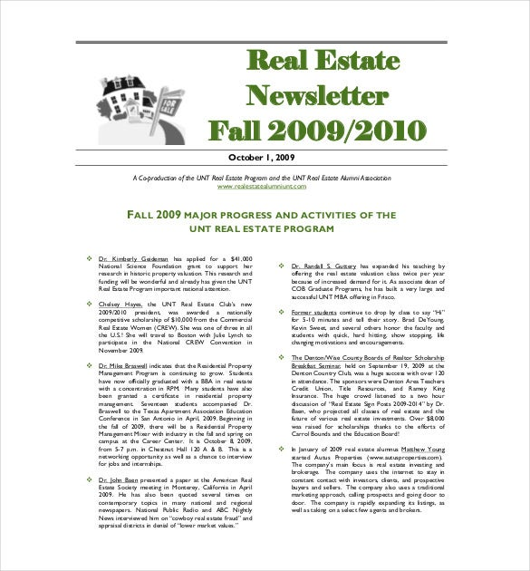 real estate newsletter fall