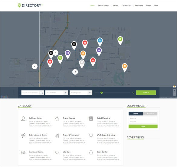 corporate directory listing wordpress php template