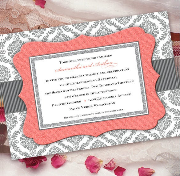romantic coral and gray wedding invitation wording template