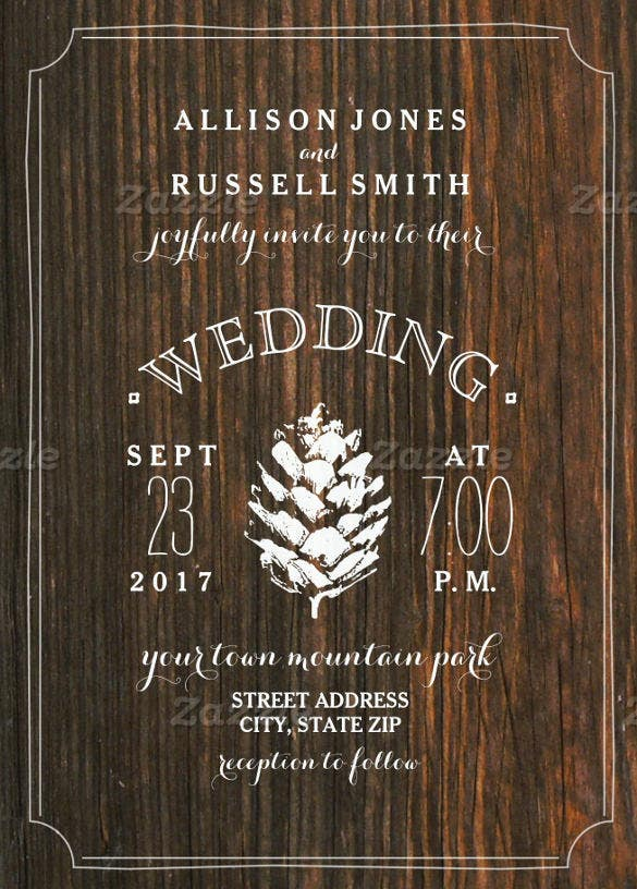 barn wood and pine cone rustic wedding invitation wording template