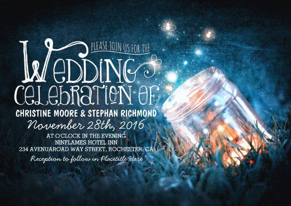 mason jar and fireflies wedding invitation wording template