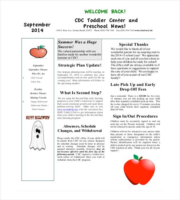 preschool monthly newsletter template