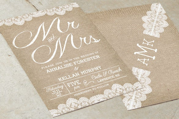 beautiful burlap wedding invitation wording template