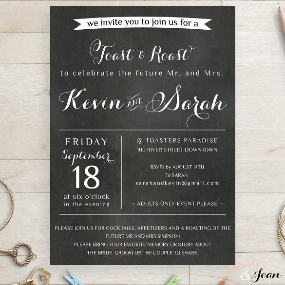 toast and roast chalkboard wedding invitation wording template