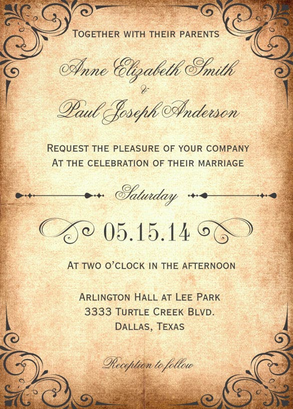 rustic vintage wedding invitation wording template