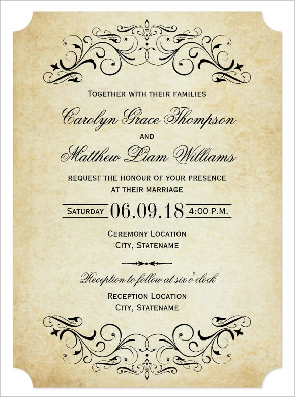 elegant flourish wedding invitation wording template