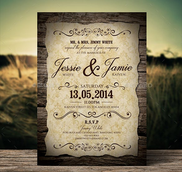 classic wood wedding invitation wording template download