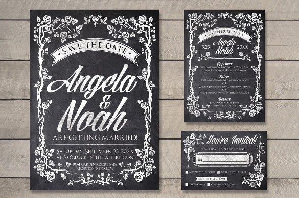 personalize chalk wedding invitation wording template