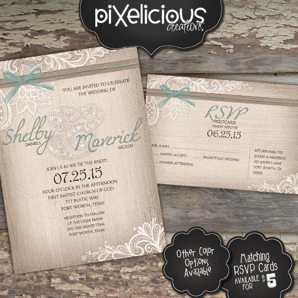 digital rustic wedding invitation wording template