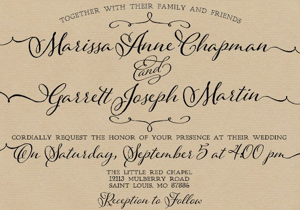 trendy type wedding invitation wording template download