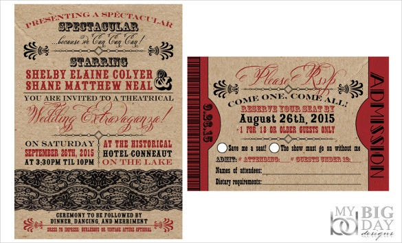 kraft paper style wedding invitation wording template