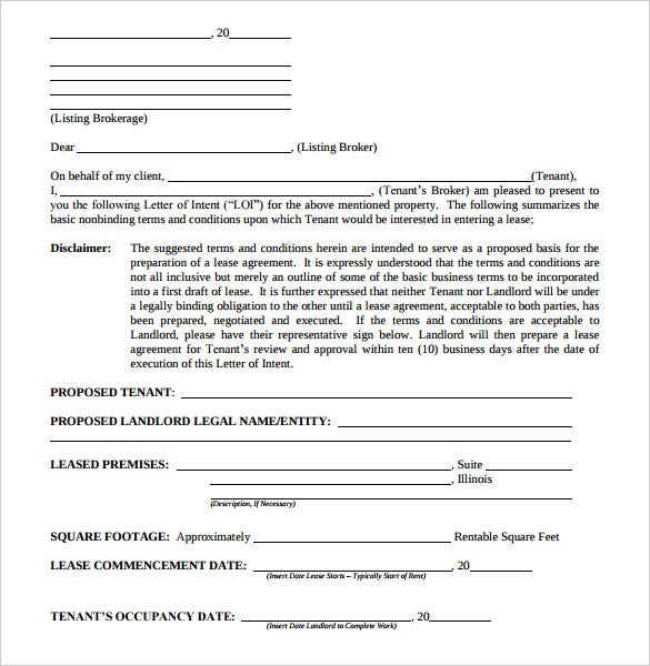 Letter Of Intent Form Real Estate Al Commercial Pdf Sample