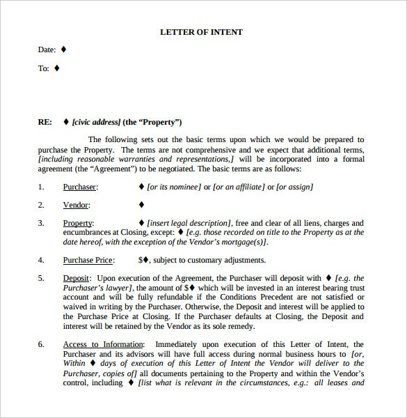 Free Commercial Real Estate Letter Of Intent Template PDF Sample  Business Letter Of Intent Sample Template