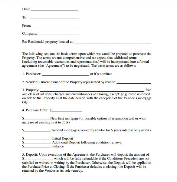 letter of intent form real estate residential purchase sample
