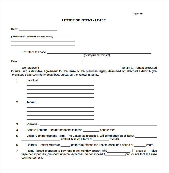 10 Real Estate Letter Of Intent Templates Free Sample Example – Letter of Intent to Lease Sample