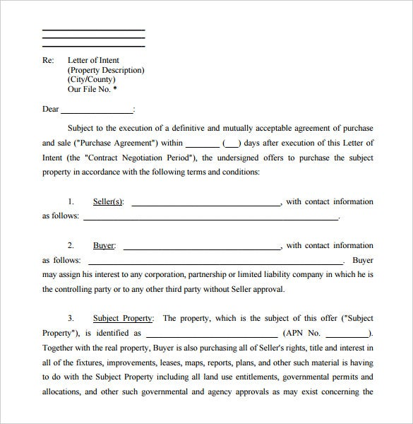letter of intent form real estate free pdf sample download