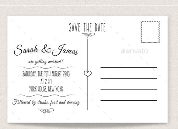 Vintage Desig Save The Date Postcard