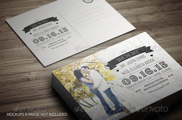 save the data postcard for wedding couple