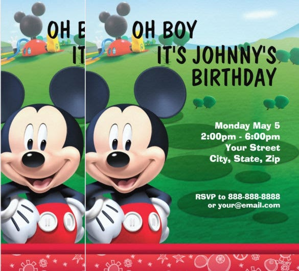 green background mickey mouse birthday invitation