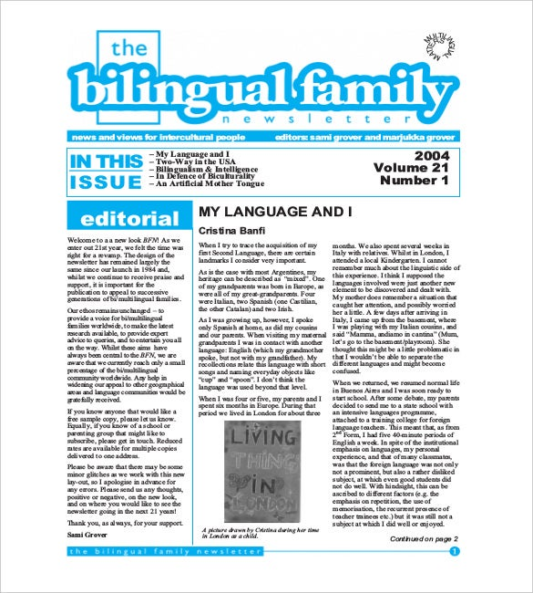 bilingual family newsletter